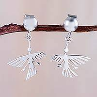 Sterling silver dangle earrings, 'Eternal Hummingbird' - Sterling Button Handcrafted Nazca Theme Earrings
