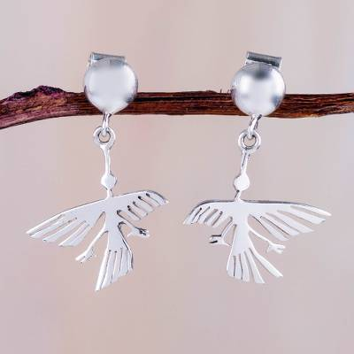 Novica Sterling silver button earrings, Pair of Hummingbirds