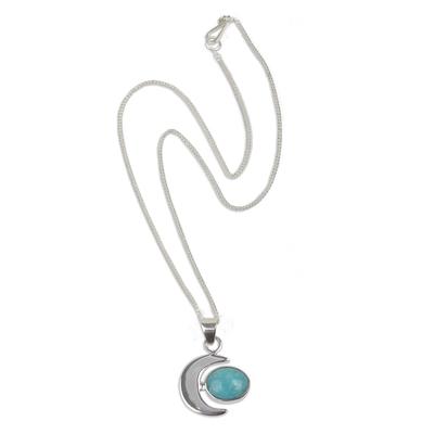 Amazonite pendant necklace, 'Moon Lake' - Peruvian Amazonite and Silver Moon Pendant Necklace