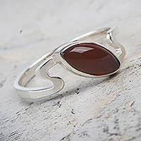 Carnelian single stone ring, 'Fiery Flow' - Sterling Silver Artisan Crafted Carnelian Ring from Peru