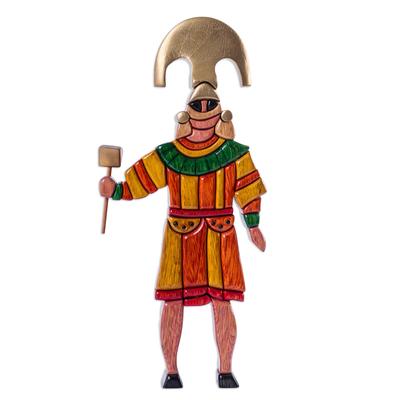 Wood sculpture, 'Honorable Lord of Sipan' - Wood Sculpture of Pre-Inca Ruler in Original Design