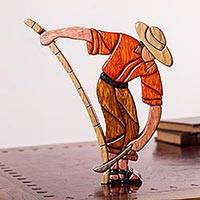 Wood sculpture, 'Cane Cropping' - Hand Carved Wood Sculpture Original Style