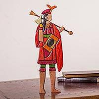 Wood sculpture, 'Lloque Yupanqui' - Artisan Crafted Wood Sculpture of Inca Emperor