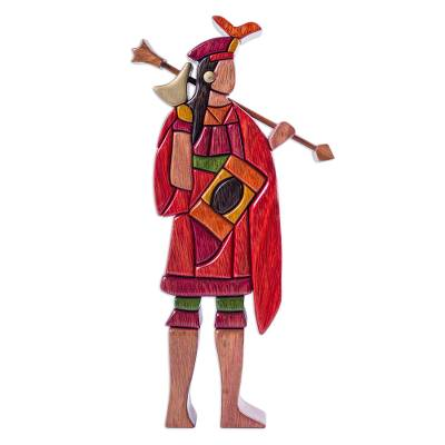 Wood sculpture, 'Lloque Yupanqui' - Artisan Crafted Wood Sculpture of Inca Emperor