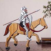 Wood sculpture, 'Don Quijote' - Don Quijote Sculpture in Hand Carved Wood from Peru