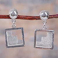 Sterling silver dangle earrings, 'Moche Stairway' - Geometric Handcrafted Inca Theme Sterling Silver Earrings