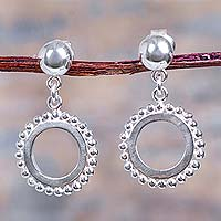 Sterling silver dangle earrings, 'Remembering Sipan' - Modern Sterling Silver Dangle Earrings from Peru