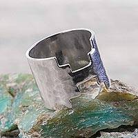 Sterling silver band ring, 'Moche Stairway' - Inca Themed Wide Sterling Silver Band Ring from Peru