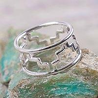 Sterling silver band ring, 'Astral Chacana' - Sterling Silver Band Ring with Inca Theme from Peru