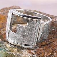 Sterling silver signet ring, 'Moche Stairway' - Handcrafted Inca Theme Sterling Silver Signet Ring