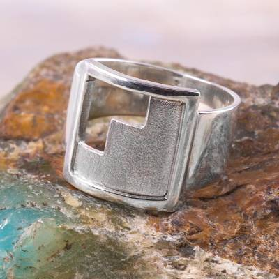silver ring program schedule - Handcrafted Inca Theme Sterling Silver Signet Ring