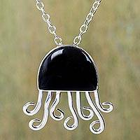Onyx pendant necklace, 'Black Octopus' - Handcrafted Sterling Silver Necklace with an Onyx Octopus