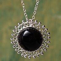 Obsidian pendant necklace, 'Black Astral Sun' - Sun Theme Handcrafted Sterling Silver and Obsidian Necklace