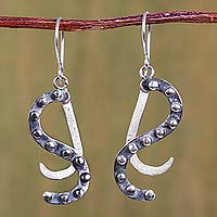 Sterling silver dangle earrings, 'Swirls and Curls' - Contemporary Andean Sterling Silver Dangle Earrings
