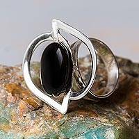 Onyx cocktail ring, 'Astral Leaf' - Peruvian Onyx and Sterling Silver Handcrafted Ring