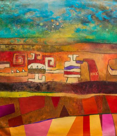 abstract painting in primary colors with pre inca motifs from the