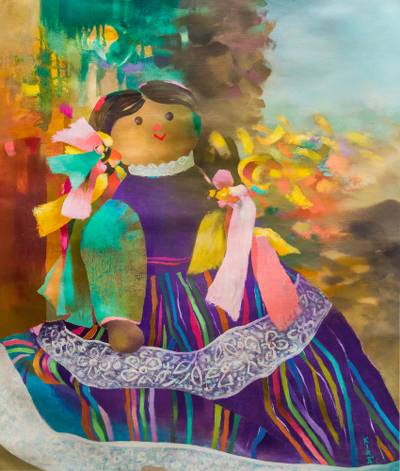 'Latin American Doll' (2001) - Original Peruvian Oil Painting in Primary Hues