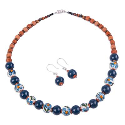 Jewelry Set with Hand Painted Flowers on Ceramic Beads