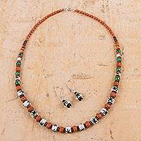 Ceramic beaded jewelry set, 'Mystic Land' - Hand Painted Ceramic Beaded Jewelry Set from Peru