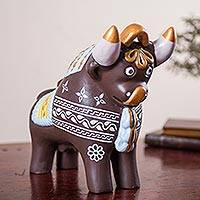 Ceramic statuette, 'Brown Pucara Bull' - Traditional Peruvian Bull Statuette Handcrafted of Ceramic