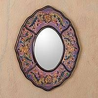 Reverse painted glass mirror, 'Lilac Colonial Wreath' - Reverse Painted Glass Wall Mirror in Aged Lilac