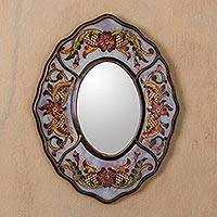 Mirror, 'White Colonial Wreath' - Aged White Reverse Painted Glass Wall Mirror from Peru