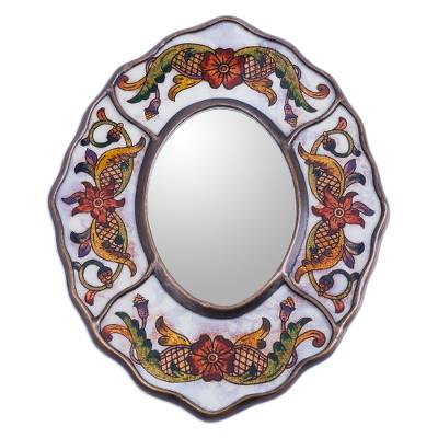 Reverse painted glass mirror, 'White Colonial Wreath' - Aged White Reverse Painted Glass Wall Mirror from Peru