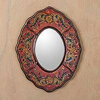 Reverse painted glass mirror, 'Red Colonial Wreath' - Handcrafted Peruvian Reverse Painted Glass Antiqued Oval Wal