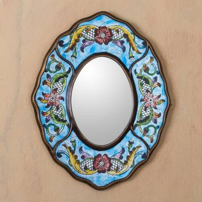 Reverse painted glass mirror, 'Blue Colonial Wreath' - Fair Trade Reverse Painted Glass Wall Mirror in Aged Blue