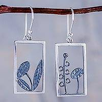 Sterling silver dangle earrings, 'Flowers in the Window'
