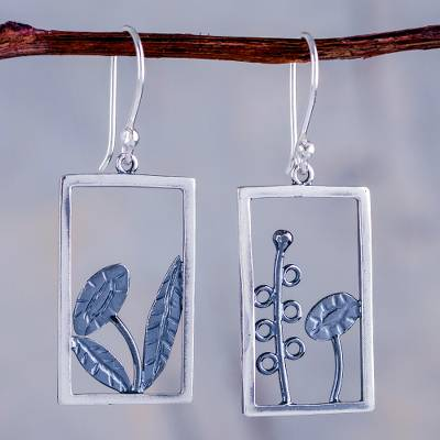 Sterling silver dangle earrings, 'Flowers in the Window' - Unique Handcrafted 925 Sterling Silver Dangle Earrings with