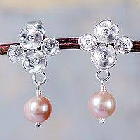 Cultured pearl dangle earrings, 'Peachtree Blossoms' - Sterling Silver Earrings with Cultured Pearls in Peach