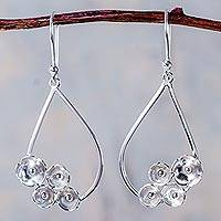 Sterling silver dangle earrings, 'Raindrop Bouquet' - Sterling Silver Floral Earrings Handcrafted in Peru