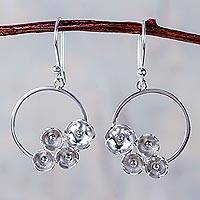 Sterling silver dangle earrings, 'Circlet Bouquet' - Sterling Silver Dangle Hook Earrings Handcrafted in Peru