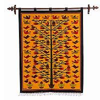 Wool tapestry, 'Birds' - Hand Loomed Wool Wall Tapestry of Birds on Tree