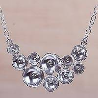 Sterling silver flower necklace, 'Blossoming Moon' - Sterling Silver Flower Necklace Peruvian Artisan Jewelry