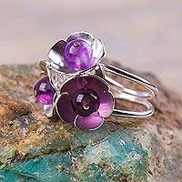 Amethyst cocktail ring, 'Buttercups' - Amethyst on Sterling Silver Floral Ring Artisan Jewelry