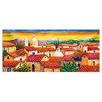 'Andean Sunset III' - Expressionistic Andean Village Scene in Oil on Canvas