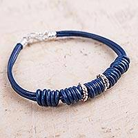 Leather wristband bracelet, 'Knots of Blue' - Artisan Crafted Leather Wristband Bracelet with Silver