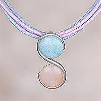 Rose quartz and amazonite pendant necklace, 'Beautiful Pisces'