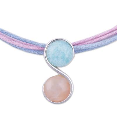 Rose quartz and amazonite pendant necklace, 'Beautiful Pisces' - Pisces Rose Quartz and Amazonite Zodiac Necklace from Peru