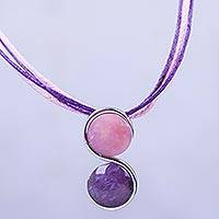 Rose quartz and amethyst pendant necklace, 'Beautiful Aquarius' - Aquarius Rose Quartz and Amethyst Zodiac Necklace from Peru