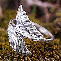Sterling silver wrap ring, 'Wings of an Angel' - Angel Wings Sterling Silver Wrap Ring from Peru