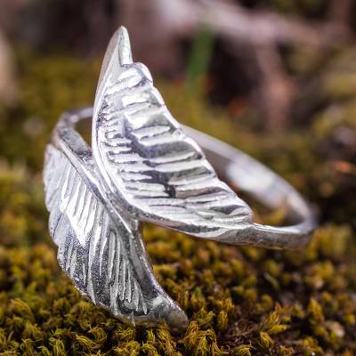 Sterling silver wrap ring, 'Wings of an Angel' - Fair Trade 925 Sterling Silver Wrap Ring with Highly Polishe