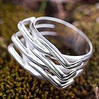 Sterling silver band ring, 'Strong Embrace' - Modern Abstract Andean Silver 950 Handcrafted Ring