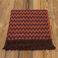 Throw blanket, 'Zigzag Symmetry' - Soft Alpaca Blend Throw with Modern Bright Zigzags of Red Bl