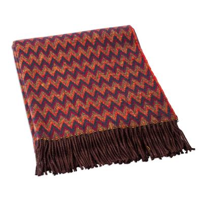 Alpaca blend throw blanket, 'Zigzag Symmetry' - Soft Alpaca Blend Throw with Modern Bright Zigzags of Red Bl