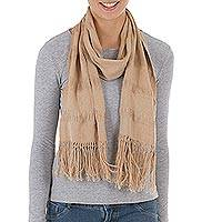 Cotton scarf, 'Light Brown Allure' - Undyed Brown Cotton Handwoven Scarf from Peru