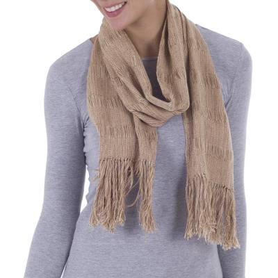 Andean Undyed Brown 100% Cotton Handwoven Scarf