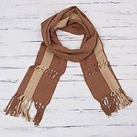 Cotton scarf, 'Earth Parallels' - Brown and Beige Unisex Cotton Scarf Woven by Hand in Peru